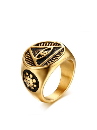 Exquisite Gold Plated Eye Shaped Titanium Ring