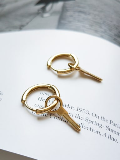 Sterling Silver 18K-Gold Key ear studs