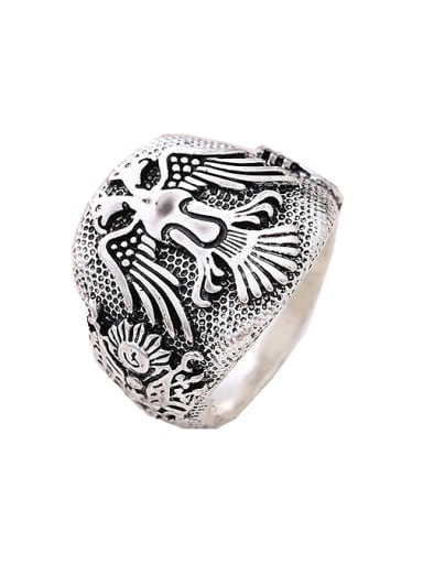 Punk style Double Eagle Antique Silver Plated Alloy Ring