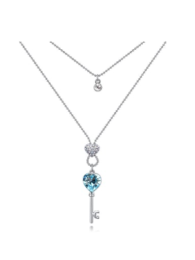 Exquisite Little Key Pendant Swarovski Crystals Double Layer Necklace