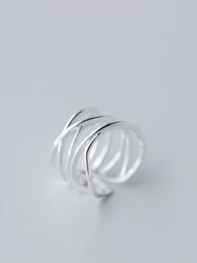 S925 silver multi-layer lines opening Stacking Ring