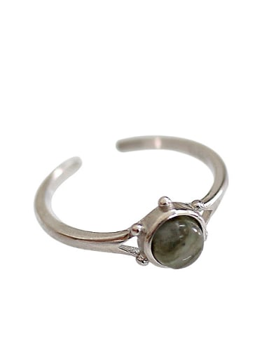Simple Round Grey stone Silver Opening Ring