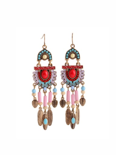 Alloy Feather Colorful Stones Drop Chandelier earring