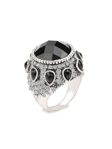 Punk style Exaggerated Black Resin Stones Crystals Alloy Ring