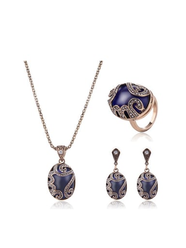 2018 Alloy Antique Gold Plated Vintage style Artificial Stones Three Pieces Jewelry Set