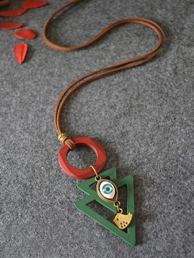 Vintage Style Wooden Triangle Shaped Necklace