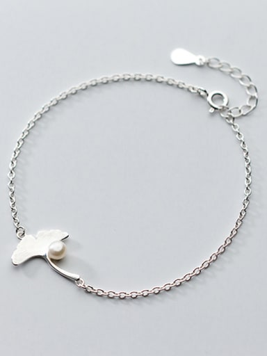 All-match Adjustable Leaf Shaped Pearl S925 Silver Bracelet