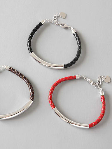 Pure silver handmade knitted leather rope bracelet
