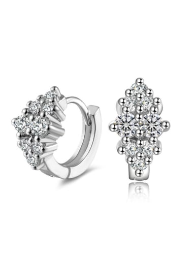 Fashion AAA Zircons White Gold Plated Clip Earrings