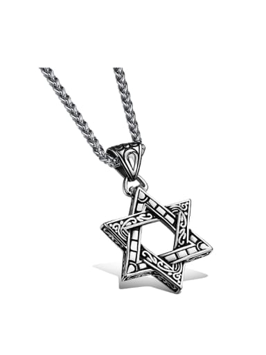 Retro style Hollow Six-pointed Star Titanium Necklace