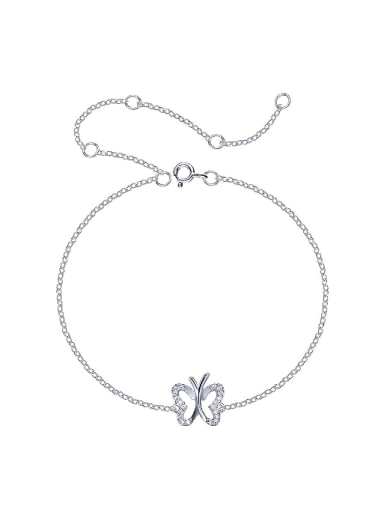 Simple Shiny Tiny Zirconias-covered Butterfly 925 Silver Bracelet