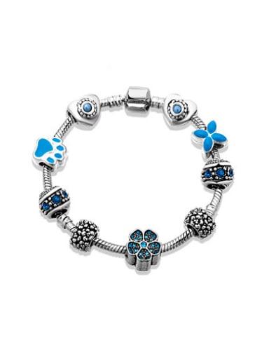 Exquisite Blue Flower Shaped Enamel Bracelet