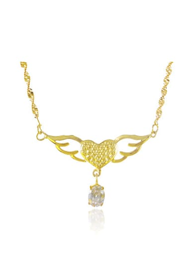 Creative 24K Gold Plated Wings Shaped Rhinestone Necklace