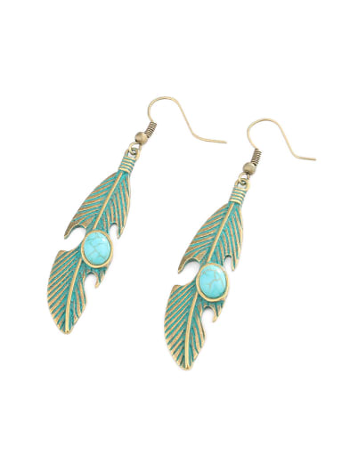 Personalized Antique Bronze Plated Turquoise stone Leaf Alloy Drop Earrings