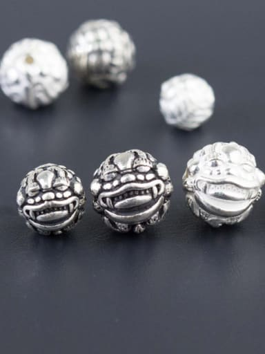 925 Sterling Silver With Antique Silver Plated 8-12mm Dragon Ball Beads