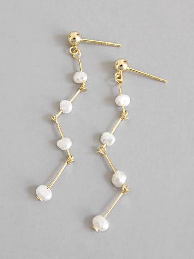 Sterling silver simple synthetic pearl  tassel earring