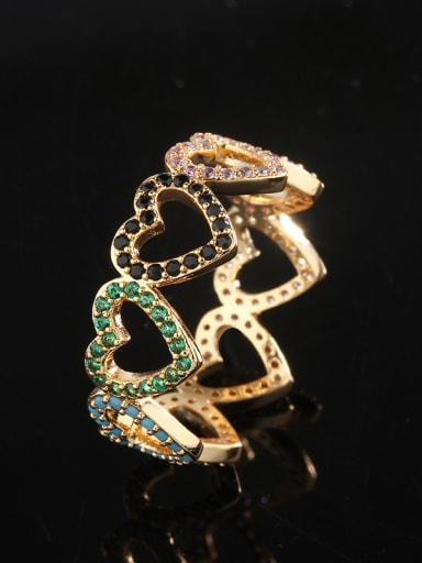 Copper With  Cubic Zirconia Romantic Heart Rings