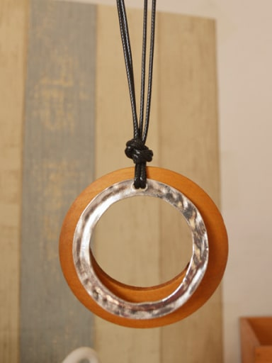 Ethnic Style Wooden Round Necklace