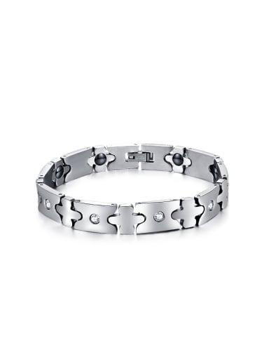 Simple Rhinestones Titanium Unisex Bracelet