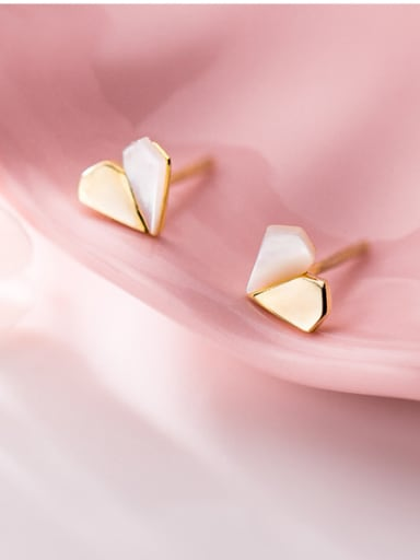 925 Sterling Silver With Shell Simplistic Heart Stud Earrings