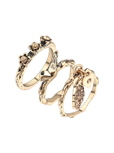 Personalized Retro style Antique Gold Plated Midi Ring Set