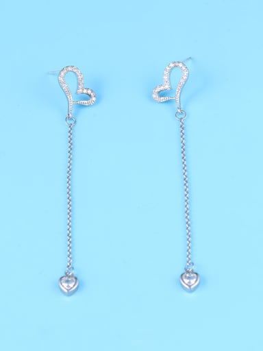 Copper With Platinum Plated Simplistic Heart Threader Earrings