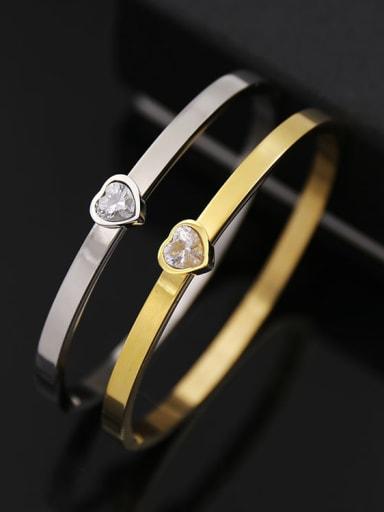 Titanium steel shiny heart type smooth  bracelet