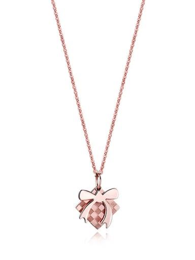 Christmas Bow Tie Rose Gold Titanium Necklace
