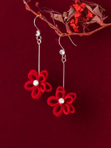 925 Sterling Silver With Platinum Plated Simplistic Flower Hook Earrings