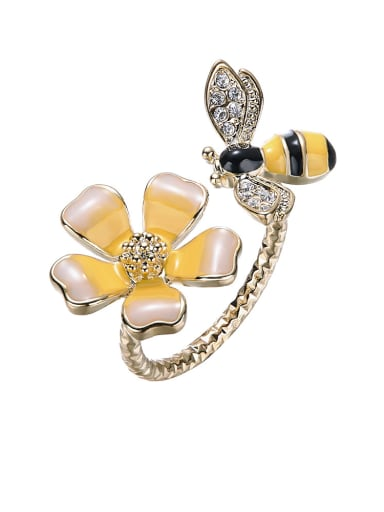 Personalized Little Bee Flower 925 Silver Opening Ring