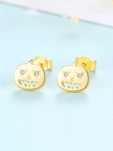 925 Sterling Silver Halloween pumpkin Stud Earrings