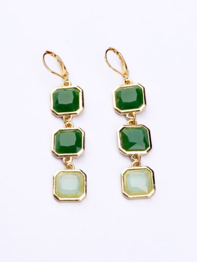 Simple Square Aritifical Gemstones drop earring