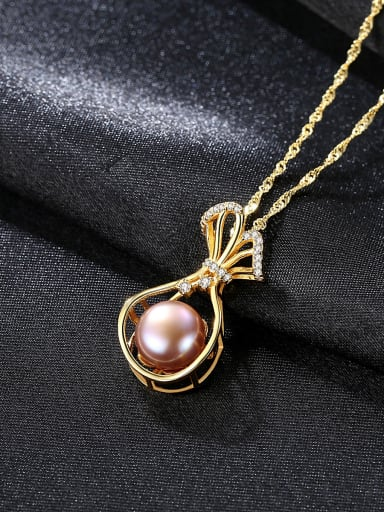 Pure silver water wave chain freshwater pearl gift bag Necklace