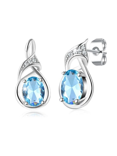 Elegant Blue Geometric Shaped Glass Earrings
