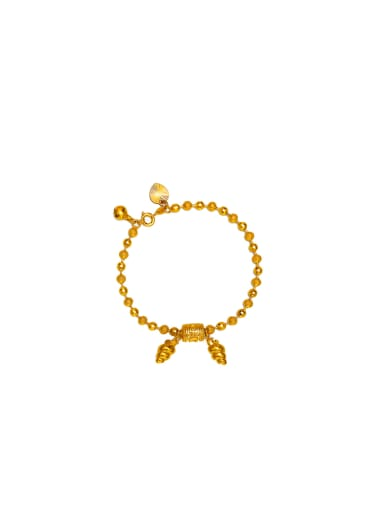 Copper Alloy 24K Gold Plated Classical Beads Bracelet
