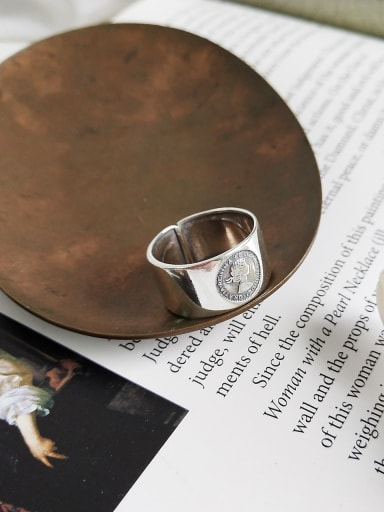 Sterling Silver portrait relief free size ring