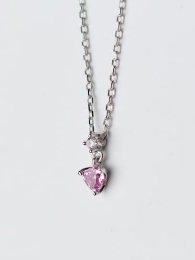 Elegant Heart Shaped Pink Zircon S925 Silver Necklace