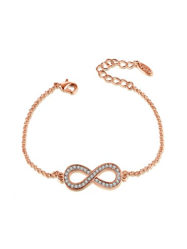 Exquisite Rose Gold Plated Figure Eight Shaped Crystal Bracelet