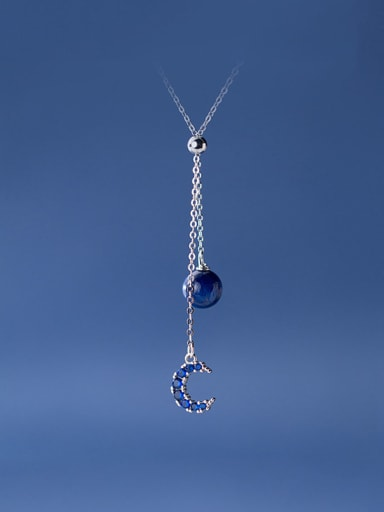925 Sterling Silver With Platinum Plated Fashion Moon Necklaces