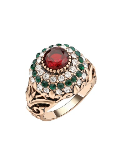 Retro Noble style Ruby Resin Crystals Alloy Ring
