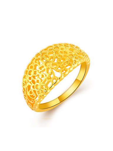 Exquisite 24K Gold Plated Hollow Flower Shaped Copper Ring