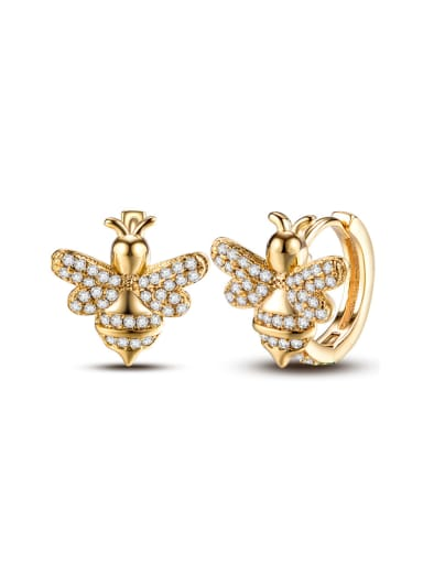 New micro-inlaid zircon bee earrings