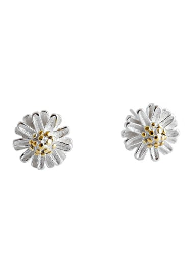 925 Sterling Silver With Silver Plated Simplistic daisies&sunflowers Stud Earrings