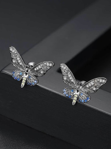 Copper With Black Gun Plated Fashion Butterfly Stud Earrings