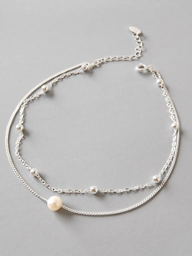 Pure silver freshwater pearl beads simple chain