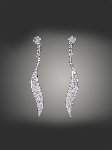 Simple Shiny Zirconias-studded Slim Leaf Copper Stud Earrings