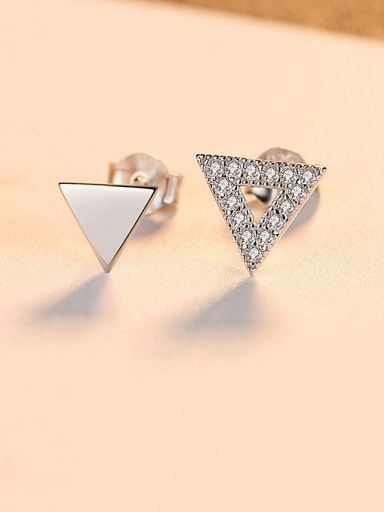 925 Sterling Silver With  Simplistic Triangle Stud Earrings