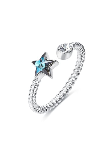 Fashion Swarovski Crystal Star 925 Silver Opening Ring