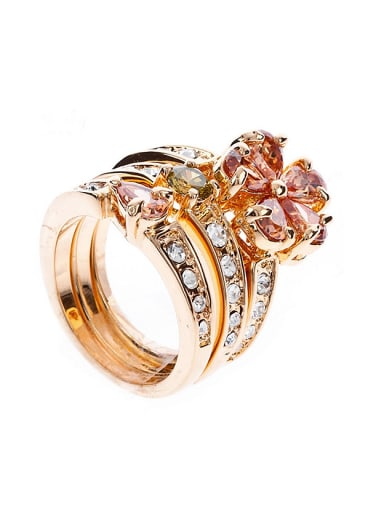 Three-in-one Zirconias-studded Flower Copper Gold Plated Ring
