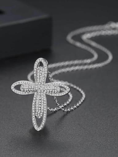 Copper inlaid 3A zircon Cross Necklace